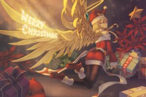 long hair, Blonde, Anime, Anime girls, Puzzle & Dragons, Archangel, Wings, Twintails, Glasses, Meganekko