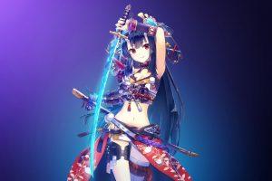 red eyes, Swordswoman, Digital anime art, Anime, Anime girls, Sword