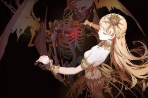 corpse, Dead, Blonde, Skeleton, Wings, Dancing, Dress