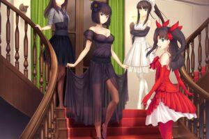 Fate Series, Type Moon, Dress, Tohsaka Rin, Stairs, Anime girls
